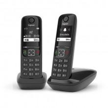 Р/Телефон Dect Gigaset AS690 DUO RUS черный (труб. в компл.:2шт) АОН