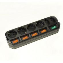 Сетевой удлинитель Most A10 5м (6 розеток) черный (пакет ПЭ)