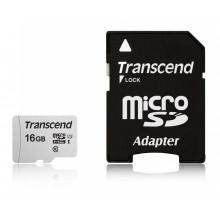 Флеш карта microSDHC 16Gb Class10 Transcend TS16GUSD300S-A + adapter