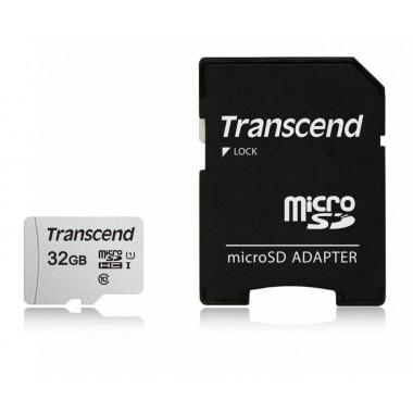 Флеш карта microSDHC 32Gb Class10 Transcend TS32GUSD300S-A + adapter