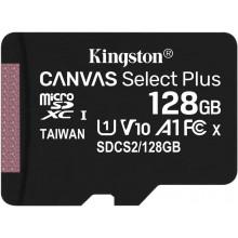 Флеш карта microSDXC 128Gb Class10 Kingston SDCS2/128GBSP Canvas Select Plus w/o adapter