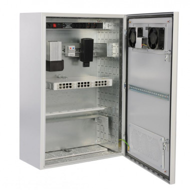 Шкаф коммутационный ЦМО (ШТВ-Н-6.6.5-4ААА) настенный 6U 600x530мм пер.дв.металл несъемн.бок.пан. 57кг серый 420мм 35кг 400мм IP65 уличный всепогодный