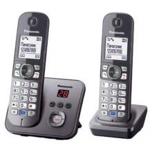 Р/Телефон Dect Panasonic KX-TG6822RUM серый металлик (труб. в компл.:2шт) автооветчик АОН
