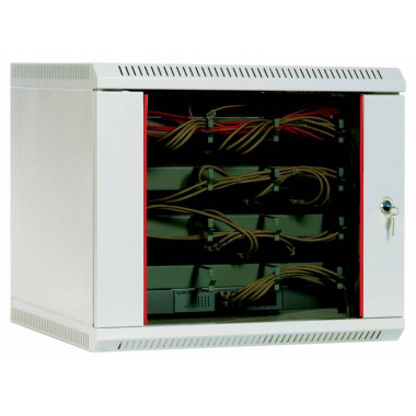 Шкаф коммутационный ЦМО ШРН-9.480 9U 600x480мм пер.дв.стекл несъемн.бок.пан. 50кг серый