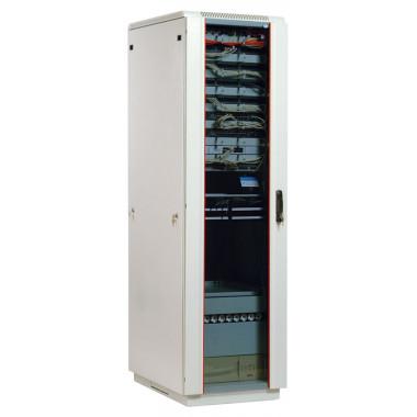 Шкаф коммутационный ЦМО (ШТК-М-42.6.6-1ААА) напольный 42U 600x600мм пер.дв.стекл задн.дв.стал.лист 2 бок.пан. направл.под закл.гайки 550кг серый 455мм 92.3кг 180град. 2030мм